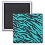 Trendy Teal Turquoise Black Zebra Stripes Magnets