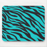 Trendy Teal Turquoise Black Zebra Stripes Mouse Pads