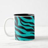 Trendy Teal Turquoise Black Zebra Stripes Mug