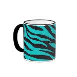 Trendy Teal Turquoise Black Zebra Stripes Mugs