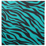 Trendy Teal Turquoise Black Zebra Stripes Cloth Napkins