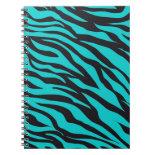 Trendy Teal Turquoise Black Zebra Stripes Spiral Notebook
