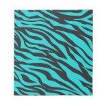 Trendy Teal Turquoise Black Zebra Stripes Memo Notepads