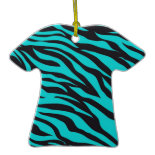 Trendy Teal Turquoise Black Zebra Stripes Ornament