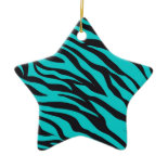 Trendy Teal Turquoise Black Zebra Stripes Christmas Ornaments