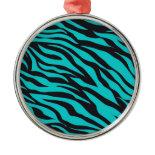 Trendy Teal Turquoise Black Zebra Stripes Christmas Ornament