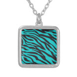 Trendy Teal Turquoise Black Zebra Stripes Pendants