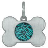 Trendy Teal Turquoise Black Zebra Stripes Pet ID Tag