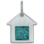 Trendy Teal Turquoise Black Zebra Stripes Pet Name Tag