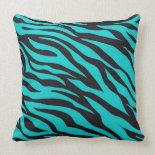 Trendy Teal Turquoise Black Zebra Stripes Throw Pillow