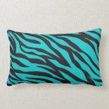 Trendy Teal Turquoise Black Zebra Stripes Throw Pillows