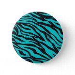 Trendy Teal Turquoise Black Zebra Stripes Pin