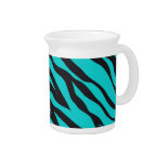 Trendy Teal Turquoise Black Zebra Stripes Pitcher