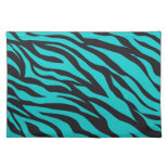 Trendy Teal Turquoise Black Zebra Stripes Placemat