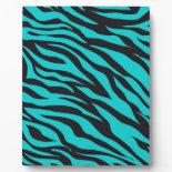 Trendy Teal Turquoise Black Zebra Stripes Display Plaques