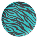 Trendy Teal Turquoise Black Zebra Stripes Party Plate