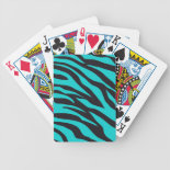 Trendy Teal Turquoise Black Zebra Stripes Playing Cards