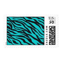 Trendy Teal Turquoise Black Zebra Stripes Postage