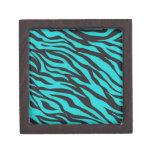 Trendy Teal Turquoise Black Zebra Stripes Premium Keepsake Boxes