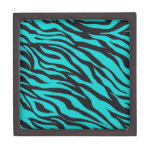 Trendy Teal Turquoise Black Zebra Stripes Premium Jewelry Box