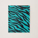Trendy Teal Turquoise Black Zebra Stripes Puzzles