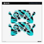 Trendy Teal Turquoise Black Zebra Stripes PS3 Controller Decals
