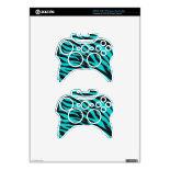 Trendy Teal Turquoise Black Zebra Stripes Xbox 360 Controller Skins