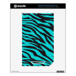 Trendy Teal Turquoise Black Zebra Stripes Decals For The NOOK Color
