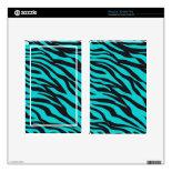 Trendy Teal Turquoise Black Zebra Stripes Skin For Kindle Fire