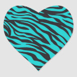 Trendy Teal Turquoise Black Zebra Stripes Sticker