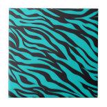 Trendy Teal Turquoise Black Zebra Stripes Tiles