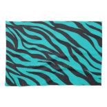 Trendy Teal Turquoise Black Zebra Stripes Towels