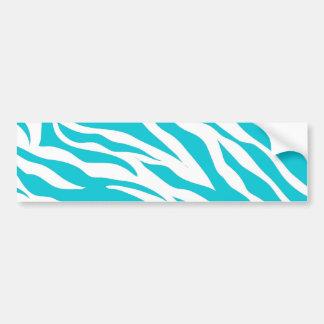 Trendy Teal White Zebra Stripes Wild Animal Prints Bumper Sticker
