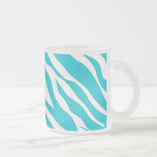 Trendy Teal White Zebra Stripes Wild Animal Prints Frosted Glass Coffee Mug