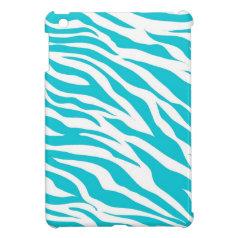 Trendy Teal White Zebra Stripes Wild Animal Prints iPad Mini Cover
