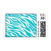 Trendy Teal White Zebra Stripes Wild Animal Prints Postage