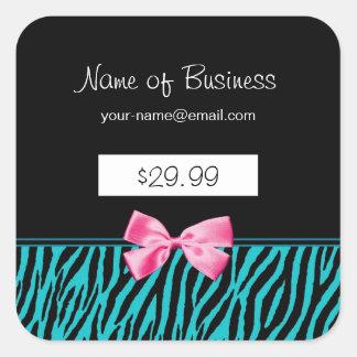 Trendy Teal Zebra Stripes Pink Ribbon Price Tags Square Sticker