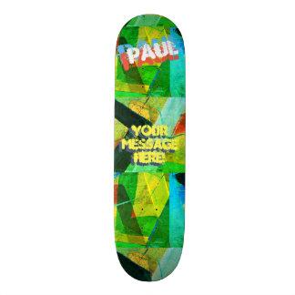 Trendy Textured Paint Green Yellow Blue Black Skateboard Deck