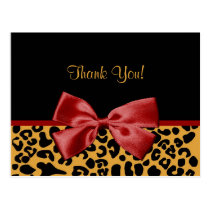 Trendy Thank You Black And Gold Leopard Red Ribbon Postcard