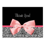 Trendy Thank You Leopard Print With Pink Ribbon Postcard