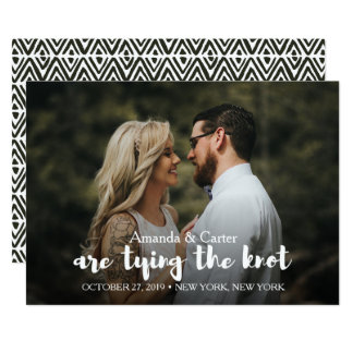 TRENDY TIE THE KNOT PHOTO SAVE THE DATE CARD