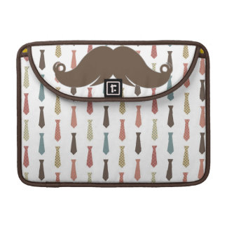 Trendy Ties with Mustache Moustache Stache Sleeves For MacBook Pro