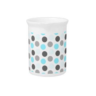 Trendy Tiffany Blue Gray Dots Pattern Drink Pitcher