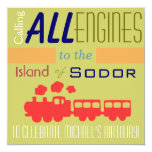 Trendy Train Birthday Invitation