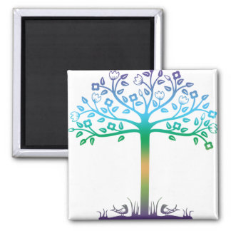 Trendy Tree Design 2 Inch Square Magnet
