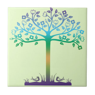 Trendy Tree Design Ceramic Tile