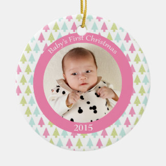 Trendy trees baby s first Christmas photo ornament