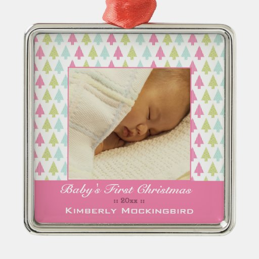 Trendy trees baby's first christmas photo ornament
