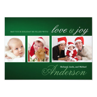 Trendy Tri-Photo Collage Holiday Card