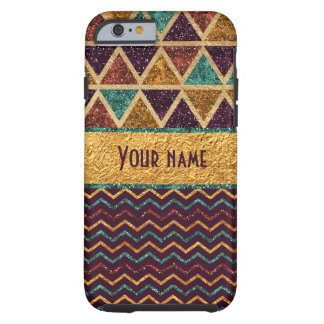 Trendy Triangles Chevrons Faux Gold Foil Glitter Tough iPhone 6 Case